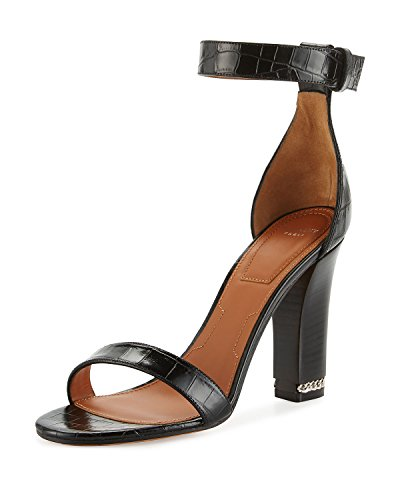 Givenchy Black Chain 105mm Crocodile 39 Sandal 5 Embossed rHrq1nX