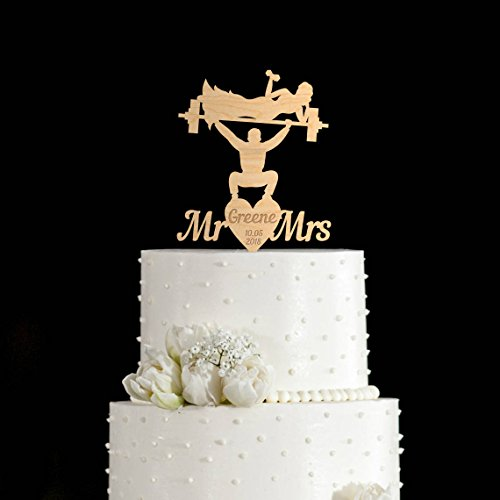Gym cake topper Weight lifting wedding cake topper Weightlifter cake topper weight lifting cake toppers bodybuilder wedding cake topper (Weight Lifting Cake Topper)
