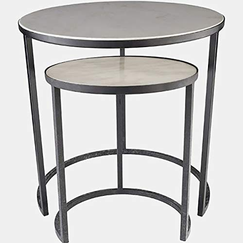 Iron Base End Table - 2 Piece Nesting End Table Set - Ivory