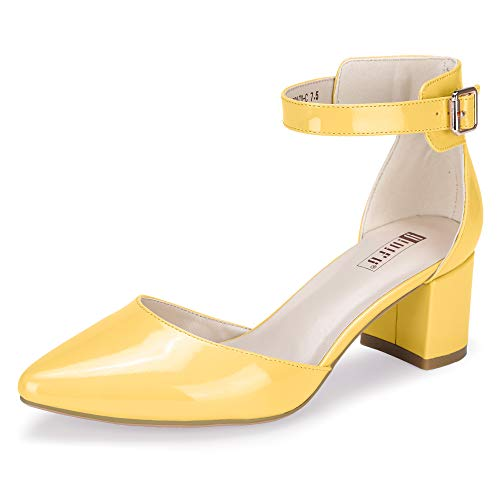 IDIFU Women's IN2 Pedazo-C Mid Chunky Heels Closed Pointed Toe Ankle Strap D'Orsay Pumps Low Block Heel Comfortable Dress Sandals Shoes (8 M US, Yellow -