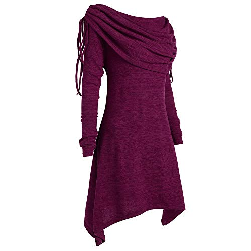 Hotcl Christmas Women Plus Size Autumn Winter Sweater Solid Pullover Ruched Lades Long Foldover Collar Tunic Long Sweatshirt Top Blouse (B_Purple, ()