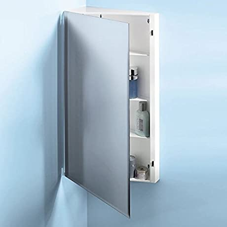 Broan NuTone 867P30WH Corner Single Door Surface Mount Medicine Cabinet With 2 Shelves