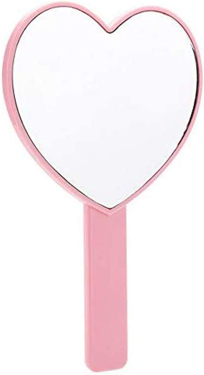 TBWHL Heart-Shaped Travel Handheld Mirror, Cosmetic Hand Mirror with Handle Pink: Home & Kitchen