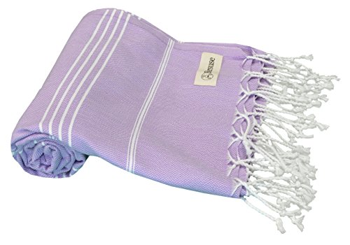 Bersuse 100% Cotton - Anatolia Turkish Towel - Bath Beach Fouta Peshtemal - Classic Striped Pestemal - 37X70 Inches, Lilac (Set of - Linen Cotton Prints Scarf