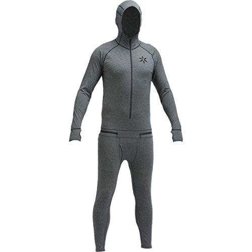 AIRBLASTER Men's Merino Hooded Outdoor Base Layer Ninja Suit, Natural Black, Medium (Wool Suit Merino)