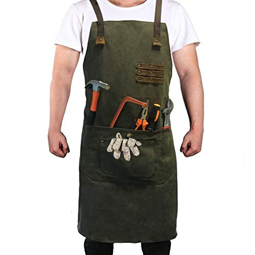 Reliancer Luxury Canvas Work Apron Heavy Duty Water Resistant Tools Aprons w/Pocket&Adjustable Cross-Back Straps Anti-oil Workshop Woodworking Apron for Carpenter Painter chefs BBQ Men & Women(Atrovirens) - Carpenters Workshop