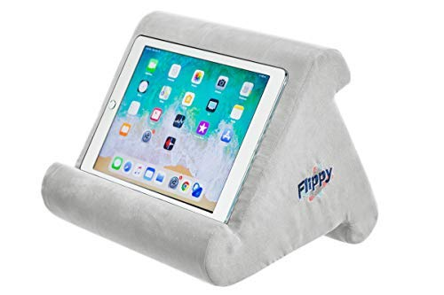 Flippy Multi-Angle Soft Pillow Lap Stand for iPads, Tablets, eReaders, Smartphones, Books, & Magazines (Grey) (Pillows Reading Pyramid For)
