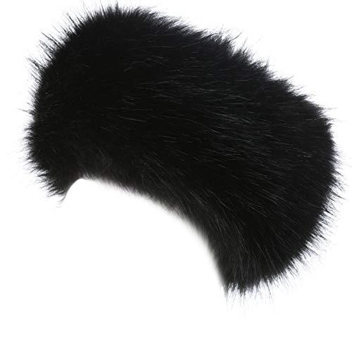 - Lucky Leaf Cozy Warm Hair Band Earmuff Cap Faux Fox Fur Headband with Stretch for Women (B1-Black)
