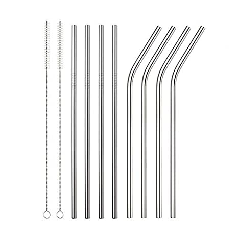NEW 4PCS Stainless Steel Metal Drinking Straws With Cleaning Brush And