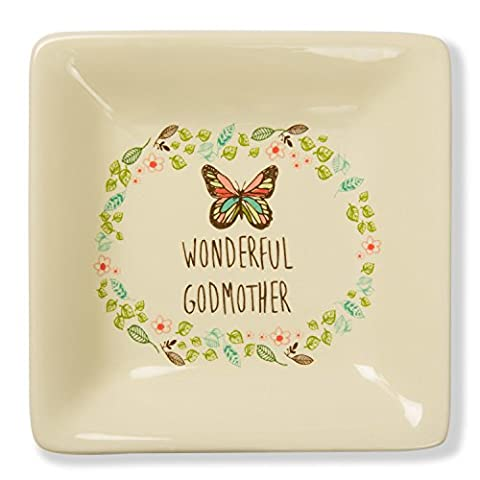 Pavilion Gift Company A Mother's Love - Wonderful Godmother Floral Butterfly Stoneware Jewerly Dish 4.5 Inch , Floral, (Butterfly Jewelry Dish)