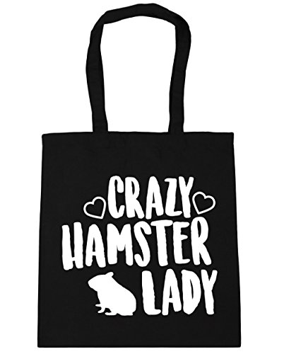 HippoWarehouse Crazy hamster lady Tote Shopping Gym Beach Bag 42cm x38cm, 10 litres Black