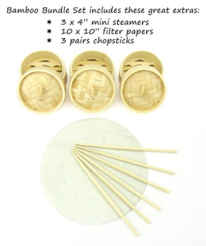 Review 10 inch Bamboo Steamer Set 2 Tier Large Bamboo Steamer Basket – Unique Antique GOLD Color Stainless Steel Banding – Vegetables Dim Sum Dumplings + Mini Chinese Steamers, Chopsticks, Filter Papers