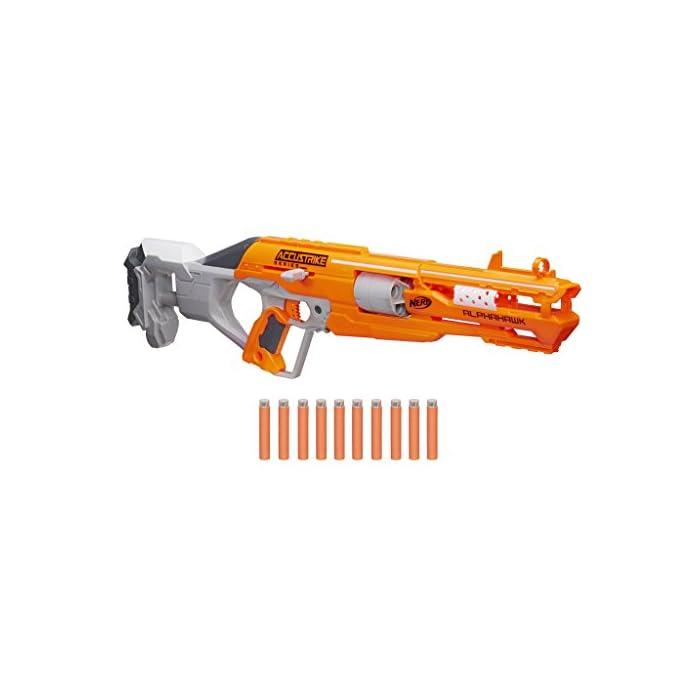 41HEZLHXnNL Forma parte de la serie AccuStrike Incluye dardos diseñados para mayor precisión Lanzador de cerrojo con tambor rotatorio de 5 dardos
