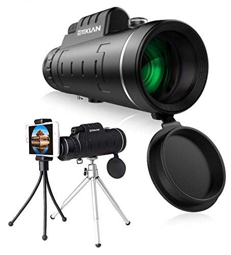 TEKLAN 12x50 Compact Monocular Telescope w/BAK-4 Optical Prism - Powerful, Lightweight Scope w/Phone Clip & Tripods for iPhone & Android - Use for Bird Watching, Hunting, Camping, Concerts + More!