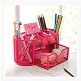 Joinwin® Space Saving Metal Wire Mesh 8 Compartment Office / School Supply Desktop Organizer Caddy w/ Drawer (Hot Pink)