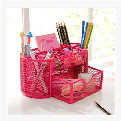 Joinwin® Space Saving Metal Wire Mesh 8 Compartment Office / School Supply Desktop Organizer Caddy w/ Drawer (Hot Pink) by Joinwin