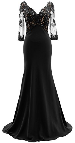 Neck 3 Bride Evening MACloth Schwarz Lace Illusion Sleeves Dress of Gown Mother 4 V the HWd4dqx8