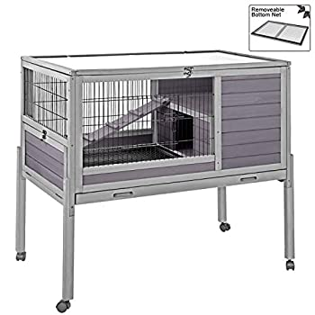 Image of Home and Kitchen Aivituvin [Upgrade Version] 39.4' Rabbit Hutch Indoor and Outdoor Bunny Cage with Deep Not Leakage Pull Out Tray,Guinea Pig Cage on Wheels