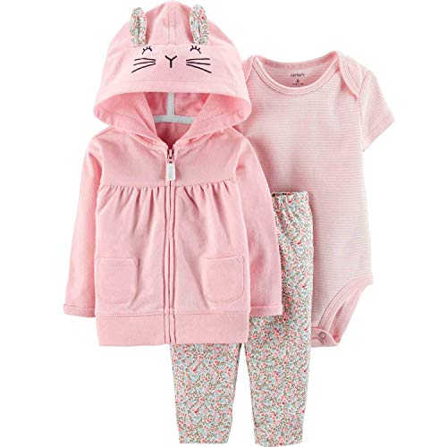 Carter's Baby Girls' 3 Pc Sets 127g177 (18 Months, Pink Floral Bunny)