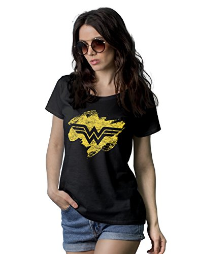 Decrum Black Women Superhero Costumes Shirt | Wonder Woman Patch, XL