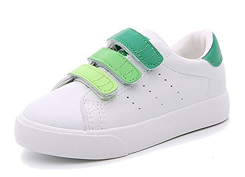 Price comparison product image Orlando Johanson New Kids Contrast Color School Sneakers Leather Waterproof Sport Running Shoes Green 12.5 M US Little Kid Comfortable