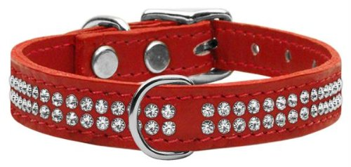 20\ Mirage Pet Products Two Row Clear Jeweled Leather Red Dog Collar, 20