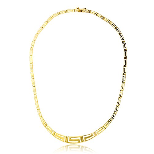 (Decadence Women's 14k Yellow Gold Graduated Greek Key Necklace)
