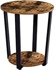 EKNITEY End Table:Industrial Round Side Table 2-Tier Small Sofa Couch Table with Storage Rack Snack Table Wood Look Accent Table with Metal Frame for Living Room, Bedroom, Coffee, and Small Spaces