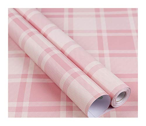 - Plaid Pattern Vinyl Contact Paper Self Adhesive Shelf Drawer Liner for Kitchen Cabinets Backsplash Countetop (Pink, 24
