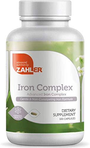 Zahlers Iron Complex, Complete Blood Building Iron Supplement with Ferrochel, Easy on The Stomach Iron Pills with…