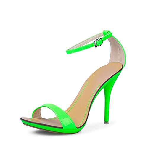 Sandals Sexy Ankle Strap Sandals Summer Gladiator High Heels Party Wedding Small Big Size 4-11,neon Green,8