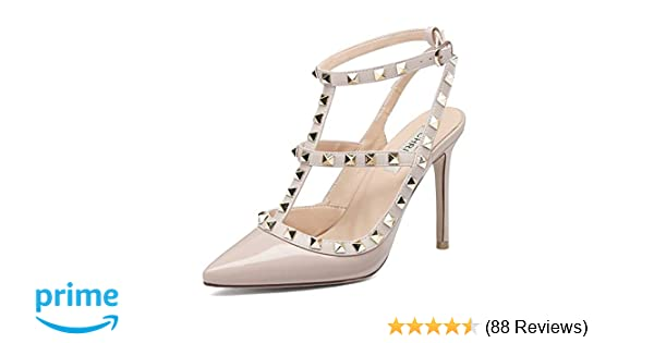 f0959d31cc1 Amazon.com  Chris-T Women Pointed Toe High Heels Studded Strappy Slingback  Stilettos Leather Sandals Pumps 4-14 US  Shoes