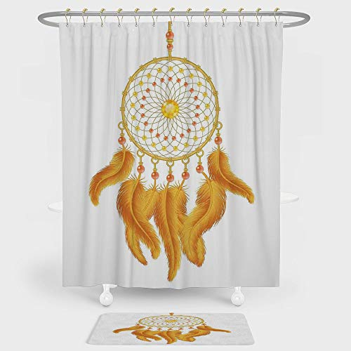 (Native American Shower Curtain And Floor Mat Combination Set Graphic of Golden Dreamcatcher Native Indigenous Cultural Style Print Decorative For decoration and daily use Marigold White)