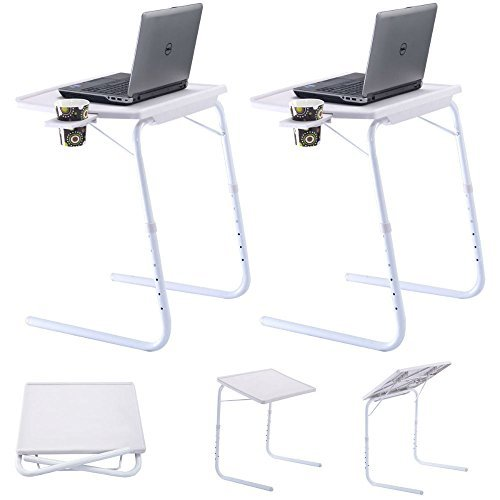 2 x Table Adjustable PC TV Laptop Desk Tray Home Office s/Cup Holder White from Unknown
