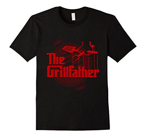 Mens The Grillfather Funny T-Shirt Cool BBQ Grill Chef Gift 3XL Black