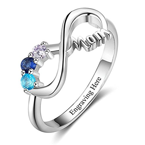 KIKISHOPQ 925 Silver Customized Ring for Mothers, Lovers Inlaid 3 Gemstones One Name Customized(silver 5)