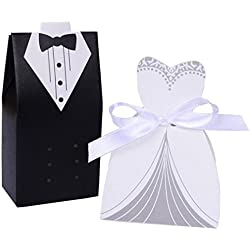 Rbenxia Wholesale Wedding Favors Wedding Party Favor Boxes Creative Tuxedo Dress Groom Bridal Candy Gift Box with Ribbon 100pcs