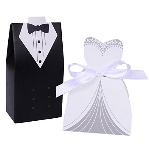 Rbenxia Wholesale Wedding Favors Wedding Party Favor Boxes Creative Tuxedo Dress Groom Bridal Candy Gift Box with Ribbon 100pcs (Groom Bride And Boxes Favor)