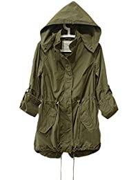 TOSHOON RED Womens Hoodie Drawstring Army Green Military Parka Jacket Coat
