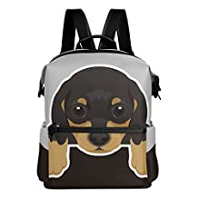 Cute Dog Dachshund Puppy Lightweight WaterproofPolyester Large CapacityBackpack Campus Backpack TravelDaypack Black