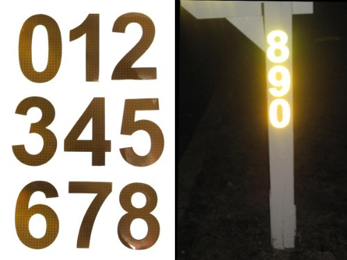 Bright Ideas RA1 Reflective Address Numbers - up to 4 numbers (Self Stick Numbers compare prices)