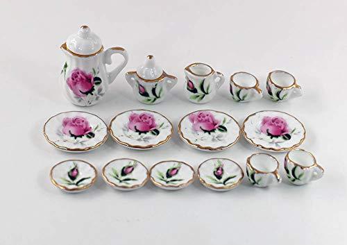 nanguawu Lot of 15 Rosebud Porcelain Dollhouse Miniature Coffee Tea Cup -