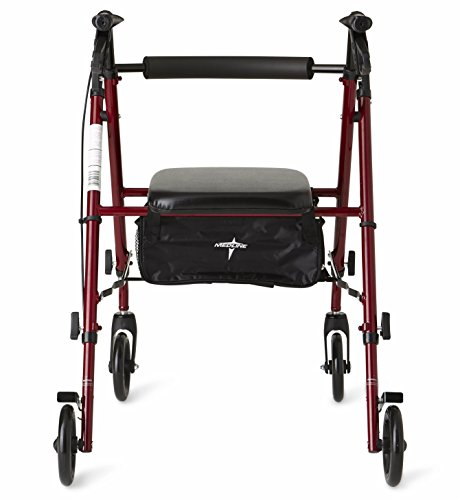 Medline Freedom Mobility Lightweight Folding Aluminum Rollator Walker with 6-inch Wheels, Adjustable Seat and Arms, Burgundy by Medline (Image #2)