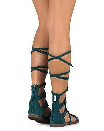 Breckelles Dg23 Kvinnor Mocka Knutna Peep Toe Snörning Linda Gladiator Flat Sandal Kricka