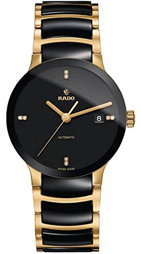 Rado-Centrix-Black-Dial-Gold-plated-and-Black-Ceramic-Mens-Watch-R30035712