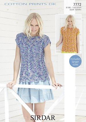 05f171fc45d17 Sirdar Cotton Prints DK - Spring 2016 Knitting Patterns (7772 Woman s Tops)   Amazon.co.uk  Kitchen   Home