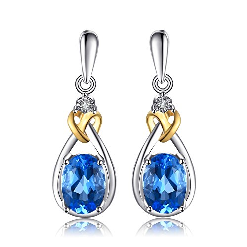JewelryPalace Love Knot 1.9ct Natural Swiss Blue Topaz Diamond Accented 925 Sterling Silver 18K Gold Dangle Earrings