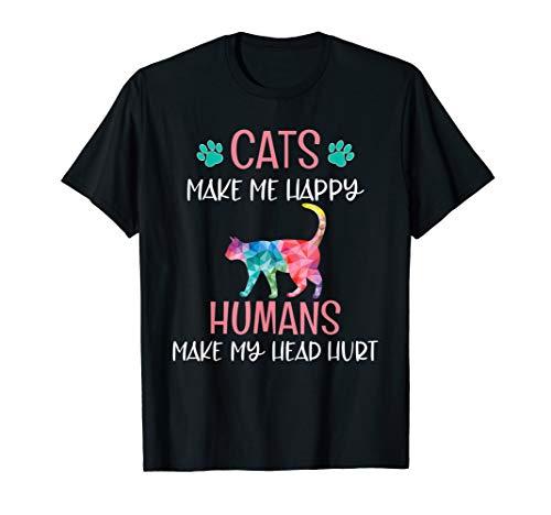 Cats Make Me Happy Funny Cat Mom Kitten Lover Rainbow Shirts