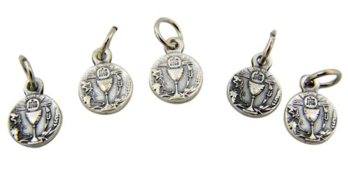 with Host 1/2 Inch Silver Tone First Communion Medal (Communion Chalice Charms)