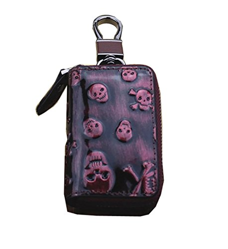Skull Key Fob (Degohome Key case Skull Premium Leather Car Key Chain Holder Metal Hook and Keyring Wallet Zipper Bag (purple))